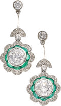 Estate Jewelry:Earrings, Diamond, Emerald, Platinum Earrings. ...