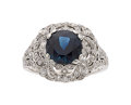 Estate Jewelry:Rings, Art Deco Sapphire, Diamond, Platinum Ring, Dreicer & Co.. ...