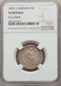 Seated Quarters, 1855-S 25C Arrows -- Cleaned -- NGC Details. VF. NGC Census: (4/25). PCGS Population: (7/58). CDN: $360 Whsle. Bid for prob...