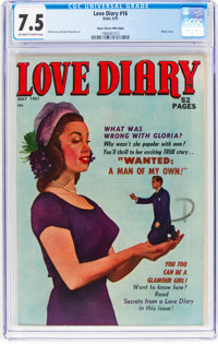 Love Diary #16 Mile High Pedigree (Orbit, 1951) CGC VF- 7.5 Off-white to white pages