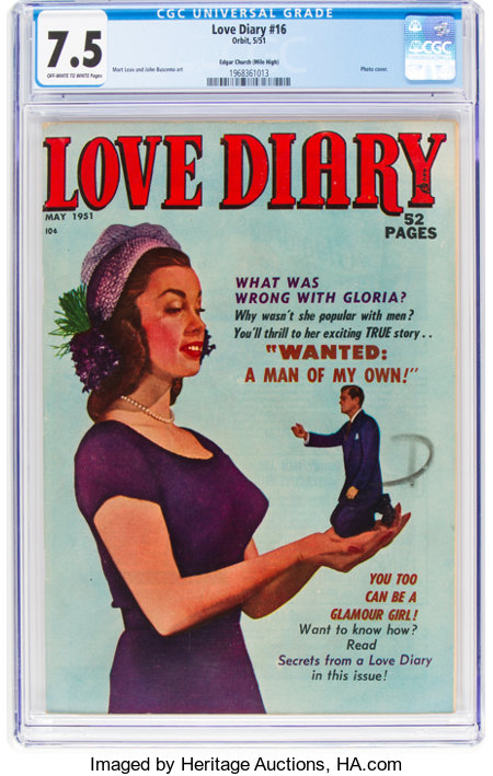 Love Diary #16 Mile High Pedigree (Orbit, 1951) CGC VF- 7.5 Off-white to white pages....