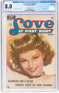 "Golden Age (1938-1955):Romance, Love at First Sight #2 Davis Crippen (""D"" Copy) Pedigree (Ace,1949) CGC VF 8.0 Off-white to white pages...."