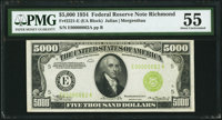 Fr. 2221-E $5,000 1934 Federal Reserve Note. PMG About Uncirculated 55