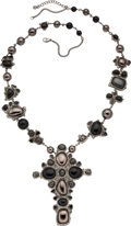"""Luxury Accessories:Accessories, Chanel Black and Gunmetal Beaded Cross Pendant Necklace. Condition: 1. 15"""" Drop (Adjustable). ..."""
