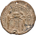 Ancients:Byzantine, Ancients: BYZANTINE EMPIRE. Ekdikoi of the Hagia Sophia. 11th-12thcentury AD. Lead seal (52mm, 102.01 gm, 12h). Choice VF, scrape,chip...