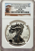 Modern Bullion Coins, 2012-S $1 Silver Eagle, 75th Anniversary, Early Releases PR70 Ultra Cameo NGC. This lot will also include a: 2012-S $1 Rev... (Total: 2 coins)