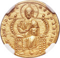 Ancients:Byzantine, Ancients: Constantine VII Porphyrogenitus (AD 913-959), withRomanus II (AD 945-963). AV solidus (20mm, 4.42 gm, 6h). NGC ChoiceAU 4/5 ...