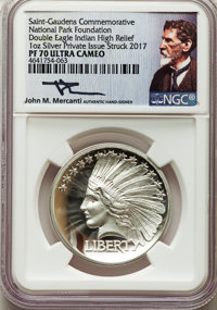 2017 One-Ounce Silver, Double Eagle Indian High Relief, Saint-Gaudens National Park Commemorative, PR70 Ultra Cameo NGC...