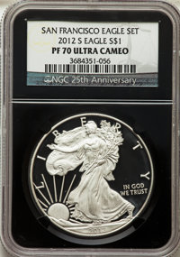 2012-S $1 Silver Eagle, San Francisco Eagle Set, PR70 Ultra Cameo NGC. This lot will also include a: 2012-S $1 Reverse...