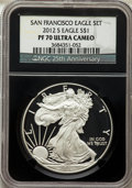 Modern Bullion Coins, 2012-S $1 Silver Eagle, 75th Anniversary, PR70 Ultra Cameo NGC. This lot will also include a: 2012-S $1 Reverse Proof Silv... (Total: 2 coins)
