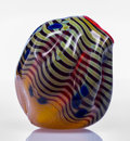 Glass, Dale Chihuly (American, b. 1941). Radiant Yellow and Blue Vase with Red Lip Wrap. Blown glass. 7 x 6 x 6 inches (17.8 x ... (Total: 2 Items)