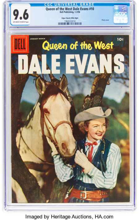 Queen of the West Dale Evans #10 Mile High Pedigree (Dell, 1956) CGC NM+ 9.6 Off-white to white pages....