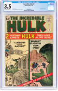 Silver Age (1956-1969):Superhero, The Incredible Hulk #4 (Marvel, 1962) CGC VG- 3.5 Off-white to white pages....