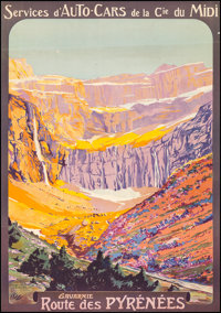 """Gavarnie: Route des Pyrenees (1920s). Fine/Very Fine on Linen. Full-Bleed French Travel Poster (27.5"""" X 39.5"""")..."""
