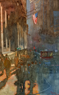 Bernie Fuchs (American, 1932-2009) Wall Street in Light and Shadow, 1985 Oil on canvas 33 x 21 in
