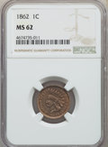 Indian Cents: , 1862 1C MS62 NGC. NGC Census: (352/1142). PCGS Population: (376/1800). MS62. Mintage 28,075,000. ...