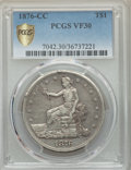 Trade Dollars, 1876-CC T$1 VF30 PCGS Gold Shield. PCGS Population: (9/201 and 0/2+). NGC Census: (2/131 and 0/3+). CDN: $725 Whsle. Bid fo...