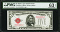 Small Size:Legal Tender Notes, Fr. 1525 $5 1928 Legal Tender Note. PMG Choice Uncirculated 63EPQ.. ...
