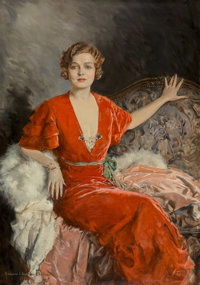 Howard Chandler Christy (American, 1872-1952) Portrait of Mrs. Austin Oil on canvas 60 x 40 in