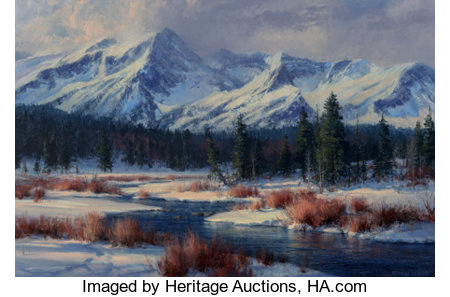 Robert Peters (American, b. 1960)A Winter Morning RadianceOil on canvas20 x 30 inches (50.8 x 76.2 cm)Signed low...