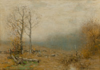 Bruce Crane (American, 1857-1937) Morning's Fog Oil on canvas 14-1/4 x 20-1/4 inches (36.2 x 51.4