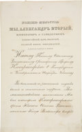 """Autographs:Non-American, Alexander II, Czar of Russia, Document Signed  """""""