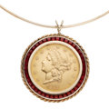 Estate Jewelry:Pendants and Lockets, US Gold Coin, Synthetic Ruby, Gold Pendant-Necklace. ...