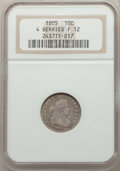 Early Dimes, 1805 10C 4 Berries Fine 12 NGC. NGC Census: (1/27). PCGS Population: (31/344). Fine 12. Mintage 120,780. ...