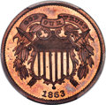 Patterns, 1863 2C Two Cents, Judd-312, Pollock-377, R.4, PR65+ Red and Brown PCGS. CAC....