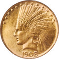Indian Eagles, 1908 $10 No Motto MS63 PCGS....