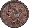 1847 1C Large Over Small 47, N-2, R.3, MS64 Brown PCGS