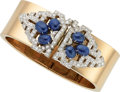 Estate Jewelry:Bracelets, Retro Sapphire, Diamond, Platinum, Gold Convertible Bracelet. ...