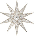 Estate Jewelry:Brooches - Pins, Victorian Diamond, Platinum-Topped Gold Pendant-Brooch, Dreicer & Son. ...