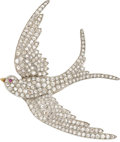 Estate Jewelry:Brooches - Pins, Victorian Diamond, Ruby, Platinum-Topped Gold Brooch. ...