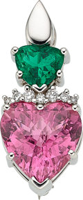 Estate Jewelry:Brooches - Pins, Colombian Emerald, Pink Tourmaline, Diamond, White GoldPendant-Brooch. ...