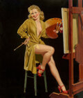 Mainstream Illustration, Al Buell (American, 1910-1996). Pin-up with a Palette, LibertyBelles series. Oil on board. 22 x 18 in.. Signed lower ri...