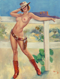 Bobby Toombs (American, 20th Century) Cowgirl Pin-Up Oil on canvas 30 x 24 in. Signed lower ri