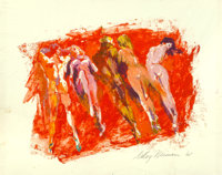 LeRoy Neiman (American, 1921-2012) Yugoslav Nudist Camps, Playboy illustration, August 1967 Oil on b