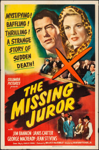 "The Missing Juror (Columbia, 1944). Folded, Fine/Very Fine. One Sheet (27"" X 41""). Mystery"