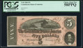 Confederate Notes:1864 Issues, T69 $5 1864 PF-10 Cr. 564 PCGS Choice About New 58PPQ.. ...