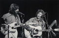 Photographs:Gelatin Silver, Bill Ray (American, b. 1936). George Harrison and Bob Dylan, The Concert for Bangladesh, 1971. Gelatin silver, printed l...
