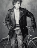 Photographs:Gelatin Silver, Mark Seliger (American, b. 1959). Bob Dylan with a Bicycle, circa 1995. Gelatin silver, printed later. 13-3/8 x 10-3/8 i...