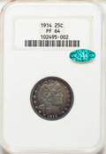 Proof Barber Quarters, 1914 25C PR64 NGC. CAC. NGC Census: (51/82). PCGS Population: (56/65). PR64. Mintage 380. . From The William Rehwal...