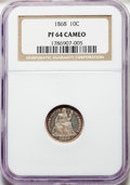 Proof Seated Dimes, 1868 10C PR64 Cameo NGC. NGC Census: (13/7). PCGS Population: (10/18). PR64. . From The William Rehwald Proof Set C...