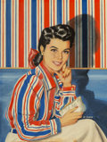 Mainstream Illustration, Al Moore (American, 20th Century). Wallpaper Blouse, SaturdayEvening Post magazine cover, October 25, 1941. Gouache on...