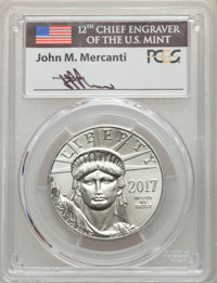 2017 $100 One-Ounce Platinum Eagle, First Day of Issue, Mercanti Signature, MS70 PCGS. PCGS Population: (463 and 0*). NG...