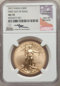Modern Bullion Coins, 2017 $50 Gold Eagle First Day of Issue, Mercanti signature, MS70 NGC. NGC Census: (0). PCGS Population: (173). MS70....