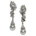 Estate Jewelry:Earrings, Cultured Pearl, Diamond, White Gold Earrings . ...
