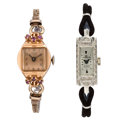 Estate Jewelry:Watches, Diamond, Pink Sapphire, Platinum, Rose Gold, Gold-Filled Watches . ... (Total: 2 Items)