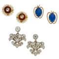 Estate Jewelry:Earrings, Diamond, Lapis Lazuli, Glass, Enamel, Gold, Silver Earring...